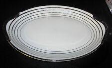 Warwick China USA Elegant Serving Meat Platter Plate Platinum Silver Eggshell