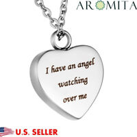 Angel Watching Over Me Heart Cremation Jewelry Keepsake Memorial Urn Necklace