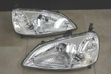 01-03 Honda Civic EM ES JDM Chrome Headlights w/Clear Reflector 2 door Coupe