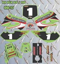 kawasaki KX 65 00-17 KLX 110 02-09 FULL GRAPHIC SET DECAL FREE NAME AND NUMBER