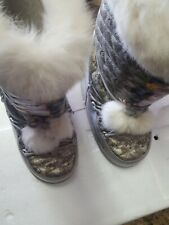 Ed Hardy Boots Winter Snow Geisha**Sz 6 Lined Boots** Fur Trim
