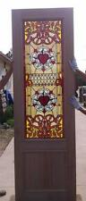 CUSTOM DESIGN HAND MADE MAHOGANY WOOD STAINED GLASS CROSS ENTRY DOOR - JH367