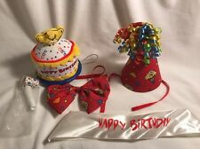 BUILD A BEAR BABW HAPPY BIRTHDAY Cupcake Song Hat Bow tie Sash Set