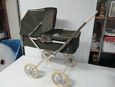 Vintage Baby Doll Buggy CarrIage Brown Stroller Wheels Hood Folds