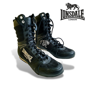 LONDSDALE CONTENDER BOXING BOOTS BOYS JUNIOR BLACK/WHITE LACE UP SIZE UK 3