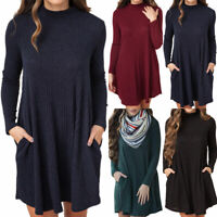 Womens Winter Knitted Jumper Sweater Mini Dress Ladies Long Sleeve Casual Tops