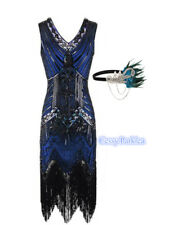 Deluxe Ladies Blue 1920s Roaring 20s Flapper Gatsby Costume Sequins Dress 6-18