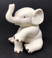 Lenox Small Fine Porcelain Ivory White Elephant Figurine w/ Real Gold Trim