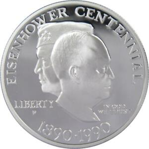 Eisenhower Centennial Commemorative 1990 P 90% Silver Dollar Proof $1 Coin