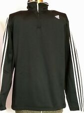 Mens Golf 1/4 zip Adidas Pullover Black with 3 Stripes XL