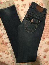 Women's True Religion Billy Jeans 24x 33 Straight  Slim Flap Pocket Awesome Jean