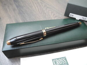 CROSS TOWNSEND GOLD BLACK Lacquer ROLLERBALL PEN SET NEW