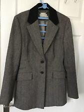 KAREN MILLEN grey & black tweed formal wool JACKET / BLAZER size 14