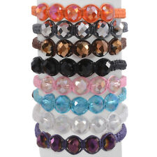 Friendship Bracelets (Adjustable) on Multi Col Set of 8 Multi Color Glass Beaded