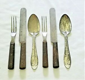 Civil War Era Wood Handled Fork, Knife and Tin Spoon - 2 Sets -Great for Display