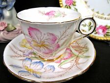 ROYAL STAFFORD TEA CUP AND SAUCER IRIS FLORAL PAINTED  TEACUP