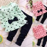 2 Piece Baby Children Girls Kids Clothes Set Dress Top+Leggings Outfit Costum
