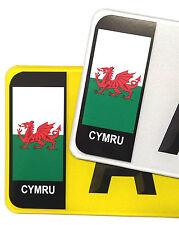 PAIR Welsh Wales CYMRU Flag Vinyl Stickers Badge For Std Car Number Plate Brexit