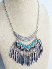 Silver Tibetan Indian tassel Hippy Bohemian Turquoise Feather Gypsy Necklace