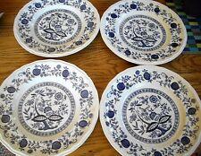 Kensington Staffordshire Ironstone Blue Onion 10 1/8 Dinner Plates ~ Set of 4 ~