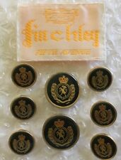 Finchley Fifth Ave. NYC Blazer Button Set 8 For 2 Button Black Gold Coat Of Arms