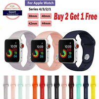 For Apple iWatch /2/3/4/5/6 Series Silicone Sport Loop Bracelet Watch Band Strap
