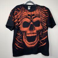 Vintage Liquid Orange Skull All Over Print 2000  XXL T Shirt Rare Double Sided