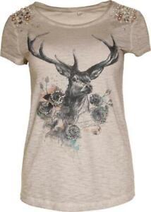 MarJo Trachten T-Shirt Amanda grau melange Perlen Damen Gr. S XL