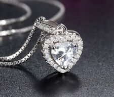 """18"""" Sterling Silver Planitum Zirconia Heart Love Pendant Necklace Gift Box"""