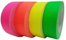 4er Set Neon 38mm x 25m Gaffa Tape Gewebeband Klebeband UV-aktiv farbig sortiert