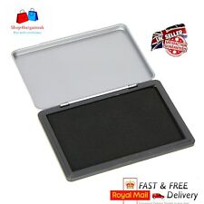 SB LARGE Ink Stamp Pad Finger Print Kids - Metal Case - BLACK Colour 120x80mm