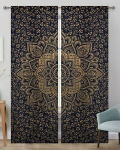Gold Ombre Mandala Indian Curtains Wall Tapestry Window Curtain Valance