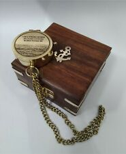 Brass Engraved Compass Directional Magnetic Pocket With Wooden Box