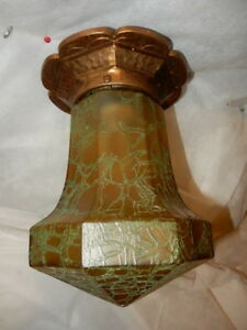 Arts & Crafts Cast Bronze Flush Mount Light w Amber Crackle Art Glass Shade