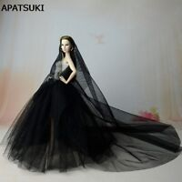 """Black Party Dress For 11.5"""" Doll Clothes Long Tail Evening Gown Clothes & Veil"""