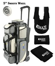 KAZE SPORTS DELUXE 3 Ball Bowling Roller Bag Tote + See Saw Grip Sack Shoe Towel