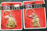 1983 Star Wars (YODA & DARTH VADER) Return of the Jedi ROTJ (2 KEYCHAINS) RARE