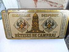 Ancienne boite en tôle lithographiée Betises de Cambrai Despinoy