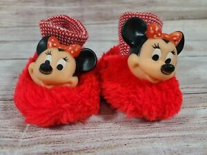 Vintage Disney Mickey Mouse Club Minnie Mouse Slippers 2 Red Black Mouseketeers