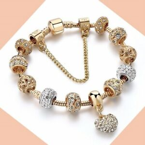 Pandora Charm Bracelet 925 Sterling Silver Gold plated Heart New European Charms