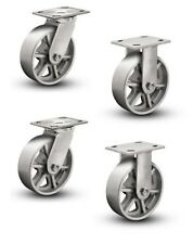 """(Pack of 4) Plate Casters with 8"""" Cast Iron Spoked Wheels 2 Fixed and 2 Swivel"""