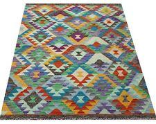 Real Afghan Tribal Multi colour Handmade Reversible Wool Kilim Area Rug101x150cm