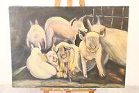 quadro olio su tela XX secolo 1900 anni 80 maiali scena bucolica grande 100 x 70