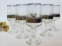 Mid Century Vintage Drinking Glasses, Set of 6 Metallic Geometric Stemmed Glass