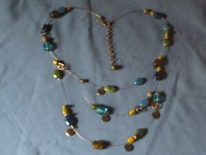 Signed CHICOS Gold-Tone Metal Multicolor Glass Bead Necklace