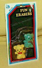 Teddy Bear Eraser Set 2 Vintage Taiwan No 127 Rochelles White Blue Bow Tie Nip.