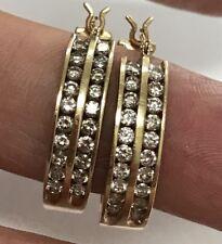 "14K Gold 3/4"" Bezel Set Diamond Hoop Earrings Italy 6.6 Grams"