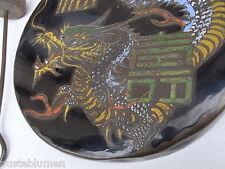 Antik China Gong Drache Glück & langes Leben Bronze Gong m Schlägel Klangschale