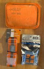 Flight 001 Orange 311 Bag, 4 Ear Plugs & LCI Orange/Grey Luggage Strap 3pc Set