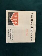 Heuer Dive Watch Vintage Rare Booklet Papers Diver's 1000 844 Quartz Automatic
